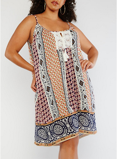 Plus Size Printed Tank Dress with Crochet Detail,BLUE/CORAL,large