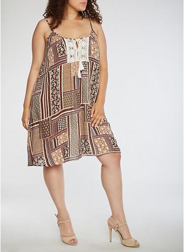 Plus Size Printed Tank Dress with Crochet Detail,MAUVE,large