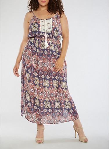 Plus Size Sleeveless Printed Maxi Dress,BLUE/RUST,large