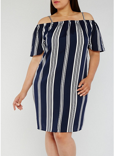 Plus Size Striped Off the Shoulder Dress,NAVY,large