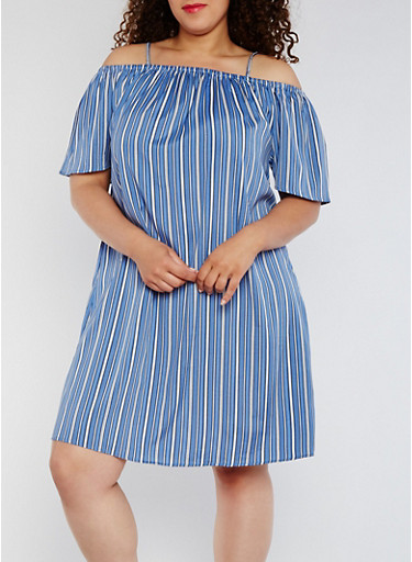 Plus Size Striped Off the Shoulder Shift Dress,BLUE/YELLOW,large