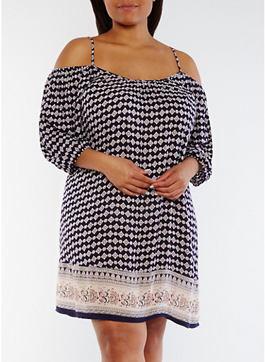 Plus Size Off the Shoulder Border Print Dress,NAVY,large