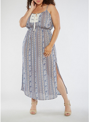 Plus Size Printed Maxi Dress with Crochet Detail,BLUE/CREME,large