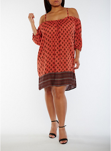 Plus Size Off the Shoulder Border Print Peasant Dress,RUST,large