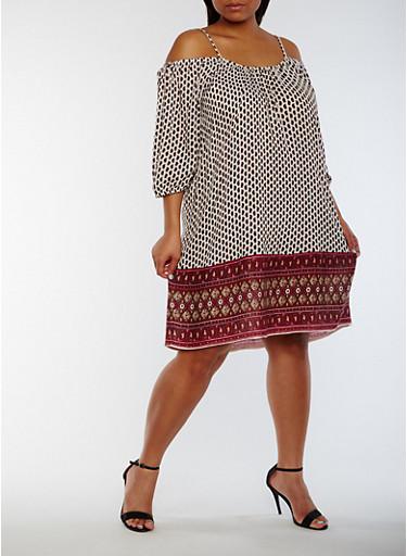 Plus Size Off the Shoulder Border Print Dress,WHITE/BURG,large