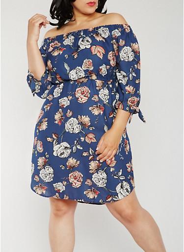 Plus Size Floral Off the Shoulder Peasant Dress,BLUE,large