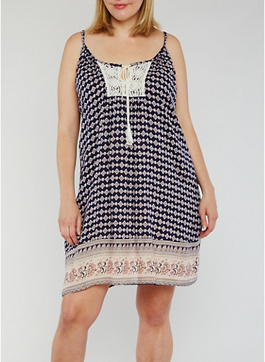 Plus Size Sleeveless Crochet Detail Tank Dress with Rope Neck Tie,NAVY,large