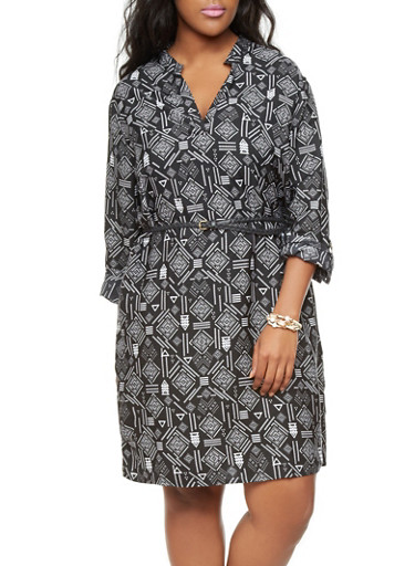 Plus Size Black and White Tribal Print Tunic Dress with Braided Belt,BLACK/WHITE,large