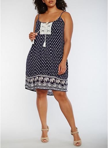 Plus Size Sleeveless Border Print Shift Dress,NAVY,large