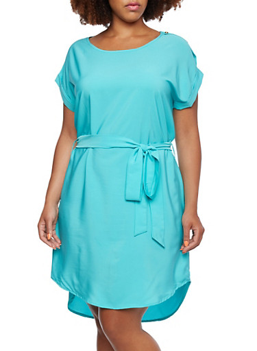 Plus Size Solid Shift Dress with Buttoned Accented Shoulders and Belt,MINT,large
