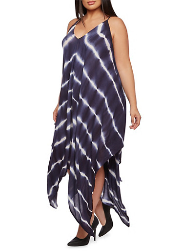 Plus Size Printed Dress with Asymmetrical Hem,NAVY/WHITE,large