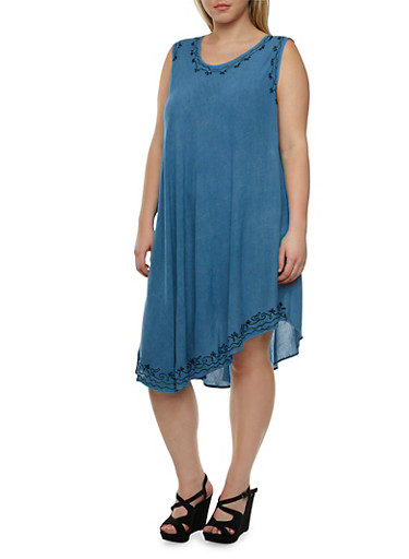 Plus Size Sleeveless Dress with Embroidered Neckline,DENIM,large