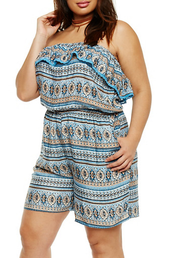 Plus Size Strapless Ruffle Printed Romper,BLACK/BLUE,large