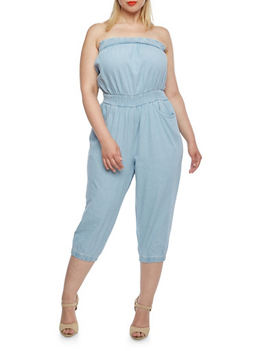 Plus Size Strapless Denim Jumpsuit,LIGHT WASH,large