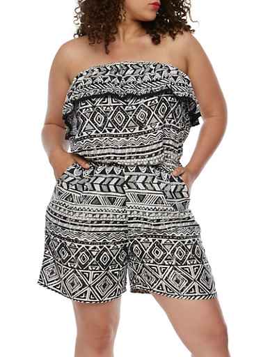Plus Size Strapless Printed Romper with Crochet Trim,BLACK/WHITE,large