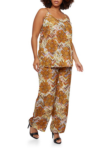 Plus Size Printed Tank Top and Elastic Pants Set,MULTI COLOR,large