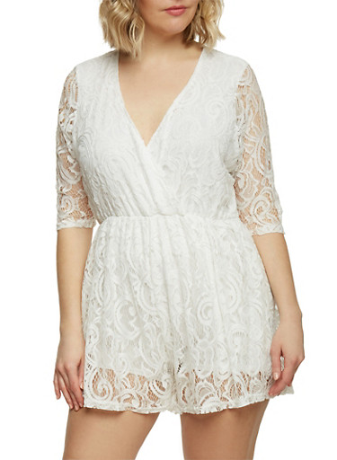 Plus Size Lace V Neck Romper,IVORY,large