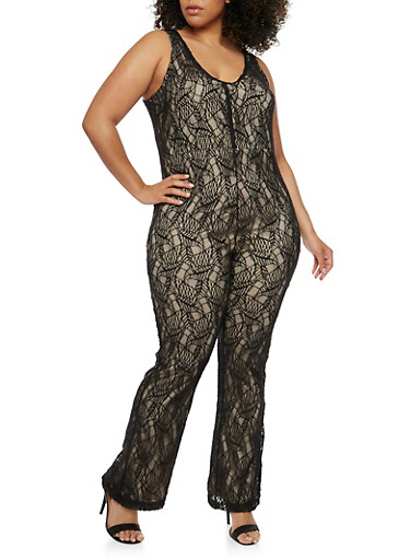 Plus Size Lace Jumpsuit with Keyhole Back,BLACK/NUDE,large