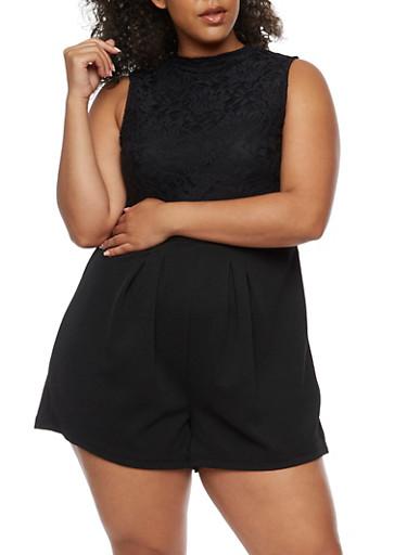 Plus Size Mock Neck Lace Romper,BLACK,large
