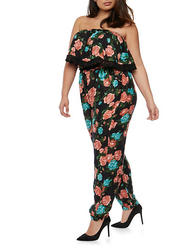 Plus Size Strapless Floral Print Jumpsuit with Overlay,BLACK,large