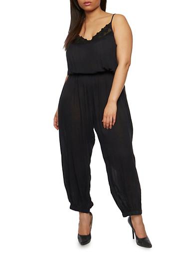 Plus Size Gauzy Jumpsuit with Crochet Trim,BLACK,large