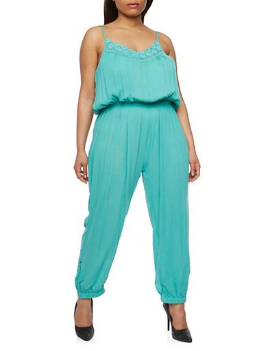 Plus Size Gauzy Jumpsuit with Crochet Trim,JADE,large