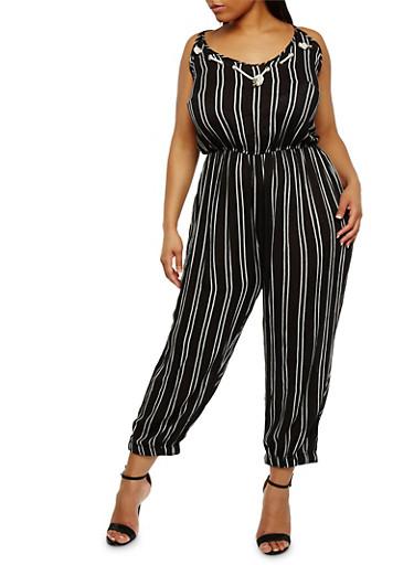 Plus Size Striped Sleeveless Jumpsuit,BLACK,large
