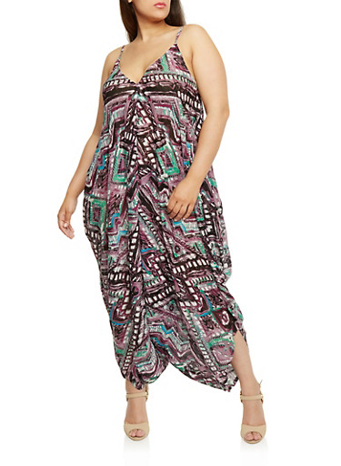 Plus Size Printed Parachute Jumpsuit,PURPLE,large
