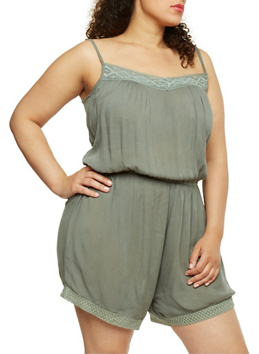 Plus Size Sleeveless Romper with Crochet Trim,OLIVE,large