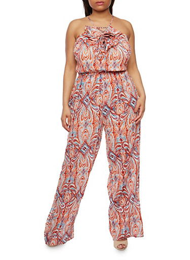 Plus Size Printed Jumpsuit with Ruffle,CORAL/BLUE,large