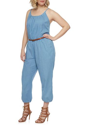 Plus Size Sleeveless Belted Denim Jumpsuit,LIGHT WASH,large