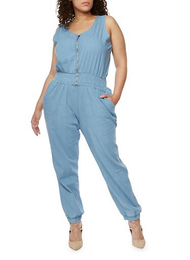 Plus Size Sleeveless Denim Front Zip Jumpsuit,LIGHT WASH,large