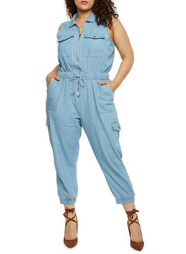 Plus Size Zip Front Cargo Denim Jumpsuit,LIGHT WASH,large