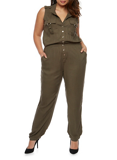 Plus Size Sleeveless Button Front Jumpsuit,OLIVE,large