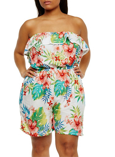 Plus Size Strapless Floral Romper with Crochet Trim,WHITE,large
