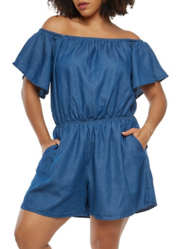 Plus Size Off the Shoulder Chambray Romper,MEDIUM WASH,large