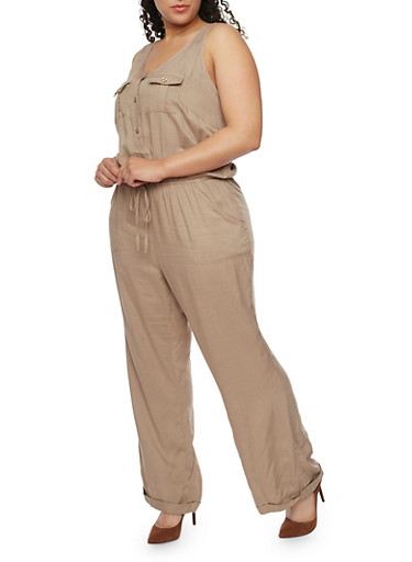 Plus Size Button Front Cuffed Jumpsuit,KHAKI,large