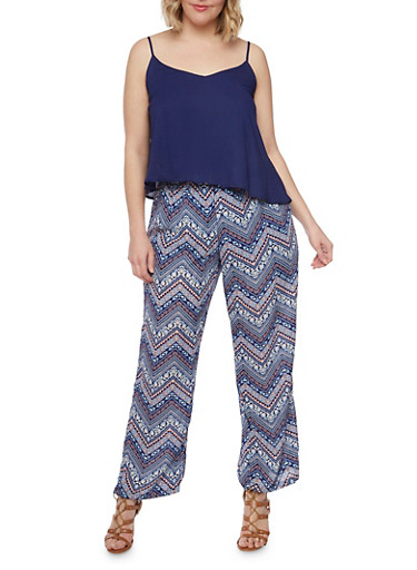 Plus Size Printed Bottom Scoop Neck Jumpsuit with Adjustable Straps,RYL BLUE,large