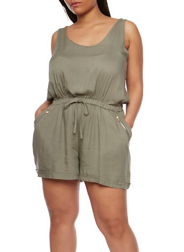 Plus Size Sleeveless Rolled Cuff Romper at Rainbow Shops in Daytona Beach, FL | Tuggl