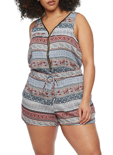 Plus Size Multi Patterned Zip Front Romper at Rainbow Shops in Daytona Beach, FL | Tuggl