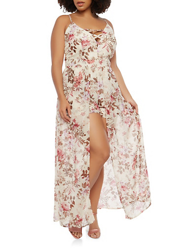 Plus Size Caged Maxi Romper,IVORY,large