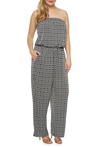 Plus Size Strapless Jumpsuit in Abstract Print,BLACK/WHITE,large