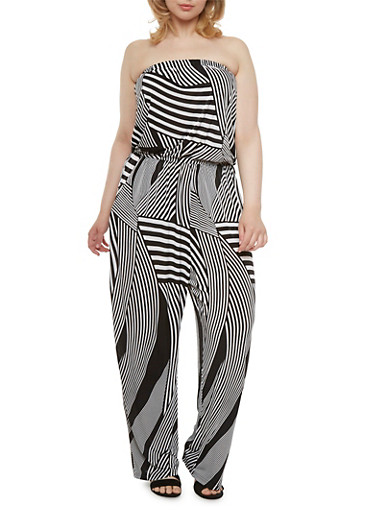 Plus Size Strapless Jumpsuit with Psychedelic Print and Two Side Pockets,BLACK MULT1,large