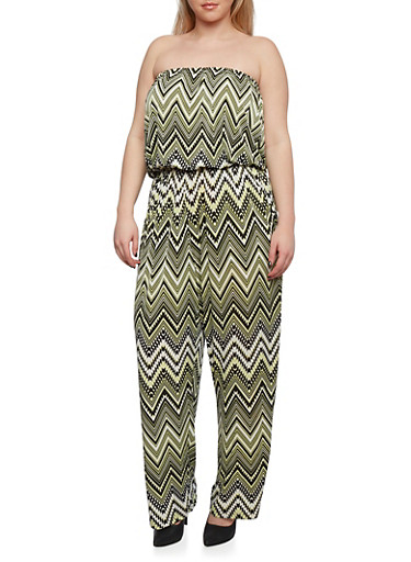 Plus Size Strapless Jumpsuit with Chevron Print Throughout,BLACK/CHARTRUESE,large