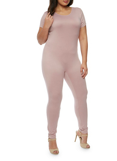 Plus Size Short Sleeve Catsuit,MAUVE,large