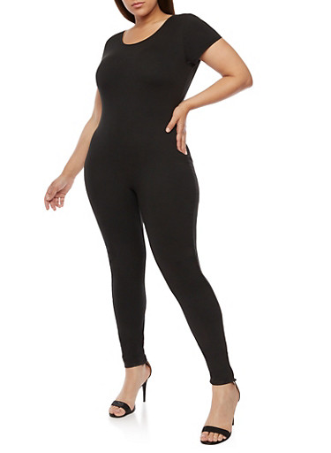 Plus Size Solid Short Sleeve Catsuit,BLACK,large