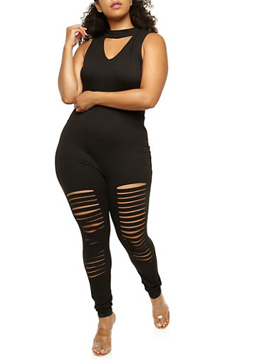 Plus Size Slashed Choker Catsuit,BLACK,large