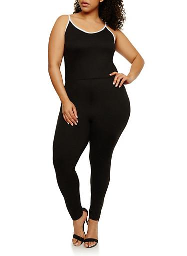 Plus Size Jumpsuit with Contrast Trim,BLACK/WHITE,large
