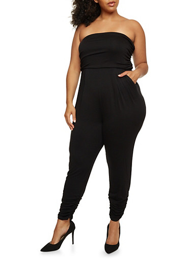 Plus Size Strapless Ruched Jumpsuit,BLACK,large