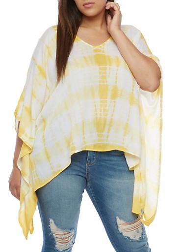Plus Size Tie Dye Poncho,MUSTARD,large
